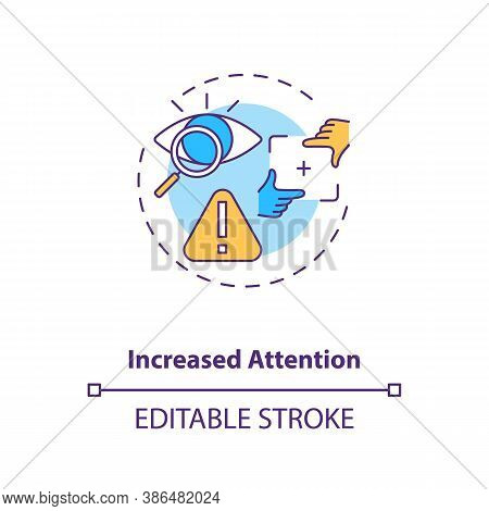 Increased Attention Concept Icon. Energy Beverages For Concentration Idea Thin Line Illustration. Ca