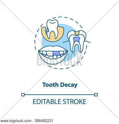Tooth Decay Concept Icon. Energy Drinks Negative Side Effects Idea Thin Line Illustration. Tooth Bre