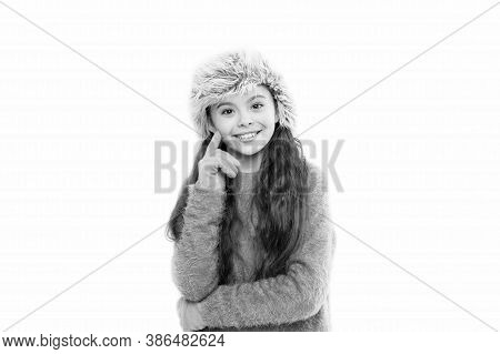 Soft Feelings. Playful Fashionista. Child Long Hair Soft Fur Hat Enjoy Softness. Soft Care Concept.