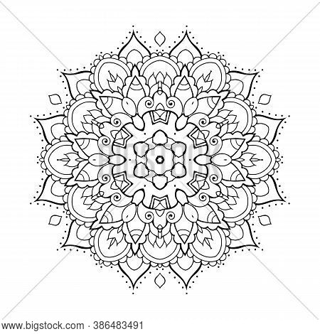 Circular Pattern In Form Of Mandala For Henna, Mehndi, Tattoo, Decoration. Decorative Ornament Color