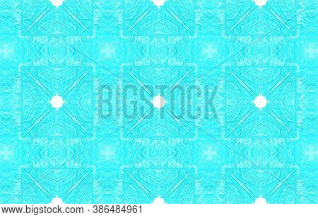 Seamless Watercolor Geometry. Blue And White Colors. Handmade Gouache Effect. Endless Bohemian Ornam