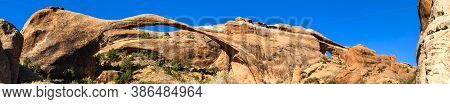 Web Banner Of Landscape Arch At Arches National Park, Utah.