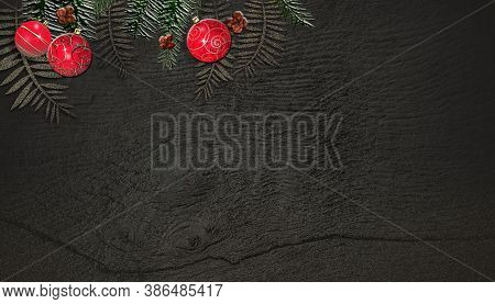 Christmas Fir Branches On Wooden Board Background With Red Realistic Baubles. Copy Space, Mock Up. 3