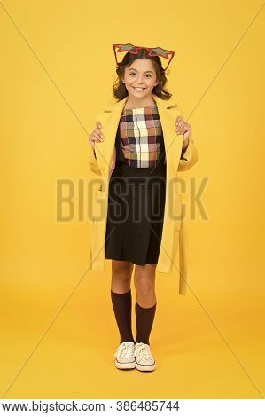 Cool Accessory Enhances Party Look. Happy Child With Cool Look. Cool Girl In School Style Yellow Bac