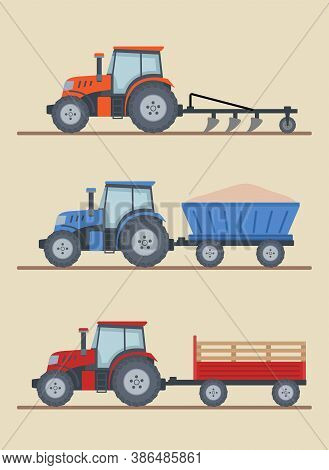 Three Farm Tractors Isolated On Beige Background. Heavy Agricultural Machinery For Field Work. Flat
