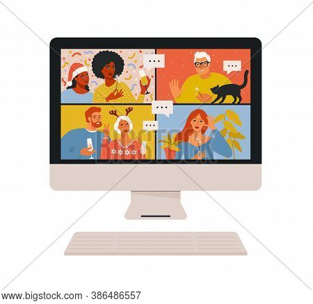 Concept Of Videoconference And Web Communication. Team Meeting Online. Smiling Man And Women Work Re