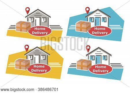 Home Delivery To Door Service Icon Set. Online Shopping. Concept Fast Postal Or Courier Shipping Of