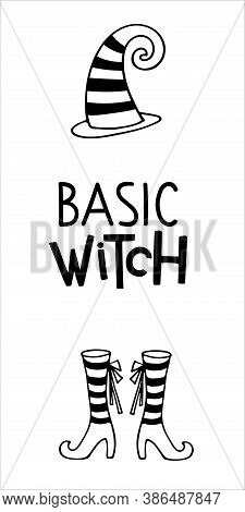 Halloween Sign. Basic Witch Lettering. Vertical Front Porch Sign. Black-and-white Illustration. Use