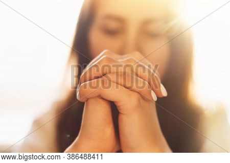 Woman Hands Praying To God. Woman Pray For God Blessing To Wishing Have A Better Life. Begging For F