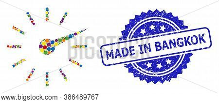 Multicolored Collage Clockface, And Made In Bangkok Textured Rosette Stamp Seal. Blue Stamp Seal Has