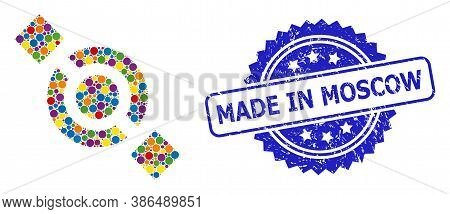 Vibrant Collage Joint Node, And Made In Moscow Rubber Rosette Stamp. Blue Stamp Has Made In Moscow C