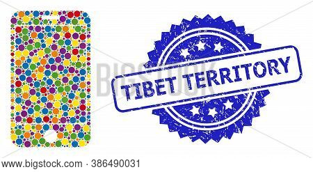 Multicolored Collage Phone Screen, And Tibet Territory Unclean Rosette Stamp Seal. Blue Stamp Seal C