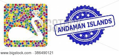 Vibrant Mosaic Crowned Swan, And Andaman Islands Grunge Rosette Seal Print. Blue Stamp Seal Includes
