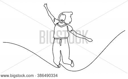 Continuous Line Drawing Of Jumping Woman. A Woman Jump Looks Happy With Toss Hand Sign. Continuous L