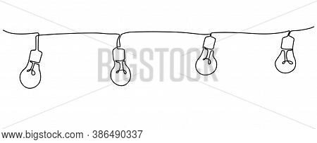 Continuous Line Drawing Of Light Bulb Vector Illustration Minimalist Design Background.light Bulb On