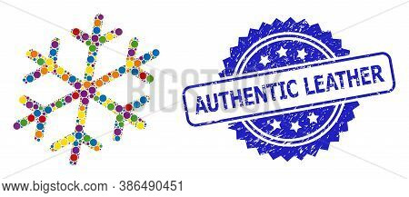 Multicolored Collage Snowflake, And Authentic Leather Scratched Rosette Stamp Seal. Blue Seal Includ
