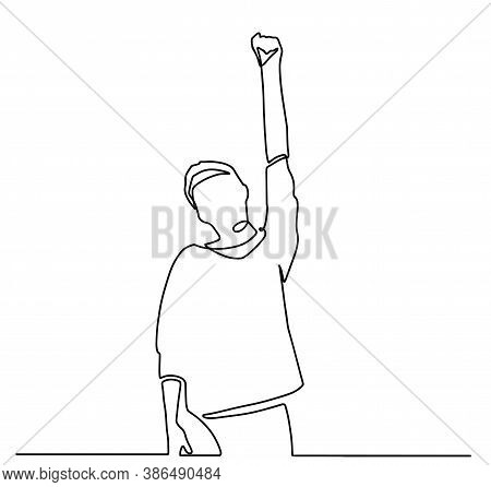 Man Raises His Hand Fist Up. Businessman In A Victory Gesture - Fist Lifted Up Above The Head. One C
