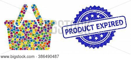 Colored Collage Shopping Bag, And Product Expired Unclean Rosette Stamp Seal. Blue Stamp Includes Pr