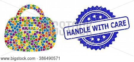 Colored Mosaic Handbag, And Handle With Care Dirty Rosette Stamp Seal. Blue Seal Has Handle With Car