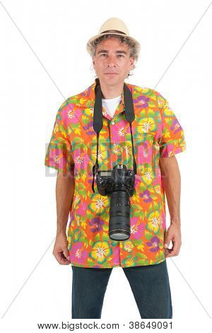 Typical tourist with big photo camera