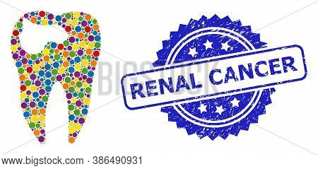 Colored Mosaic Tooth Caries, And Renal Cancer Corroded Rosette Stamp Seal. Blue Stamp Has Renal Canc