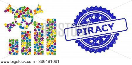Multicolored Collage Death Chart, And Piracy Scratched Rosette Stamp Seal. Blue Stamp Seal Contains