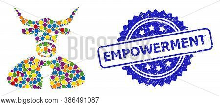 Colored Mosaic Bull Boss, And Empowerment Unclean Rosette Seal. Blue Seal Contains Empowerment Text