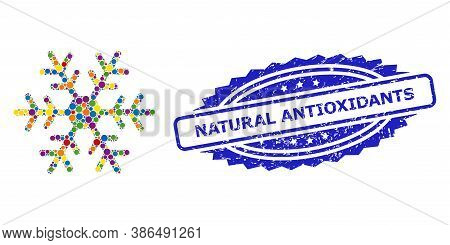 Bright Colored Collage Snowflake, And Natural Antioxidants Scratched Rosette Stamp Seal. Blue Stamp