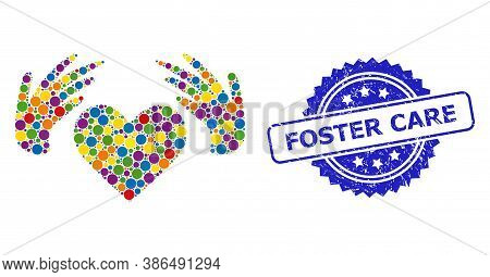 Colorful Collage Handmade Love, And Foster Care Rubber Rosette Stamp Seal. Blue Stamp Seal Contains