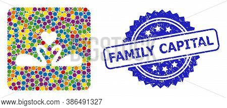 Vibrant Collage Love Swans, And Family Capital Grunge Rosette Seal. Blue Seal Includes Family Capita