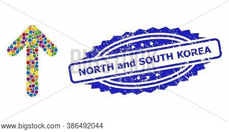 Colored Mosaic Up Arrow, And North And South Korea Unclean Rosette Seal Imitation. Blue Seal Has Nor