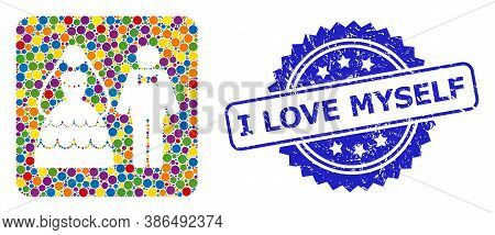 Colorful Mosaic Wedding Couple, And I Love Myself Rubber Rosette Seal Print. Blue Seal Has I Love My