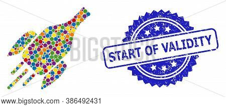 Colored Mosaic Rocket Wine Bottle, And Start Of Validity Unclean Rosette Stamp Seal. Blue Stamp Seal