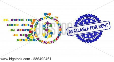 Bright Colored Collage Credit Time, And Available For Rent Scratched Rosette Seal Imitation. Blue Se