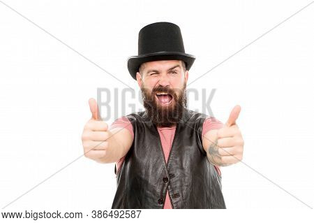 Magician Circus Worker. Man Bearded Guy Cheerful Face Solve Problem As Magician. Magician Character.