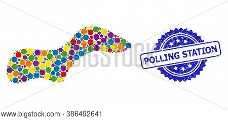 Vibrant Mosaic Spot, And Polling Station Corroded Rosette Stamp Seal. Blue Stamp Contains Polling St