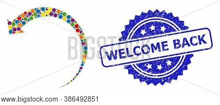 Bright Colored Collage Rotate Backward, And Welcome Back Corroded Rosette Seal Imitation. Blue Seal