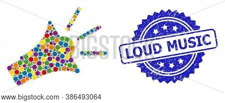 Colorful Mosaic Sound Speaker, And Loud Music Rubber Rosette Stamp Seal. Blue Stamp Seal Has Loud Mu