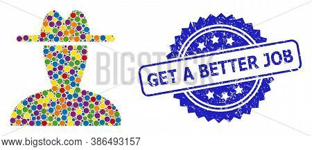 Colored Mosaic Peasant Persona, And Get A Better Job Scratched Rosette Stamp Seal. Blue Stamp Seal C