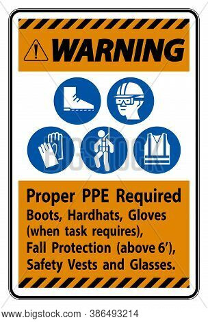 Warning Sign Proper Ppe Required Boots, Hardhats, Gloves When Task Requires Fall Protection With Ppe