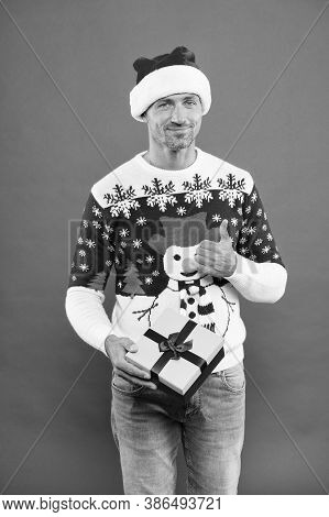 Best Gift For Me. Best Wishes. Winter Vacation. Mature Man In Hat Smiling Face Bristle. Handsome Man