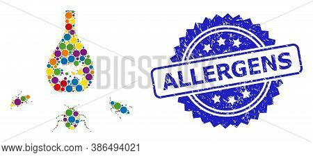 Colored Collage Cockroach Poison, And Allergens Grunge Rosette Seal. Blue Stamp Seal Contains Allerg