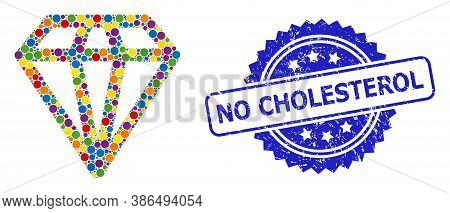 Bright Colored Collage Diamond, And No Cholesterol Grunge Rosette Seal Print. Blue Stamp Seal Includ