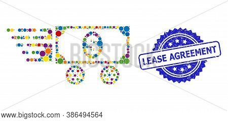 Colorful Collage Dollar Car, And Lease Agreement Corroded Rosette Stamp Seal. Blue Seal Contains Lea