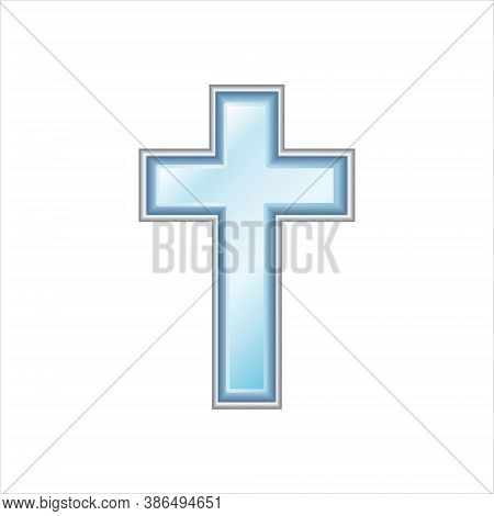 Blue Christian Cross. Sapphire With Silver Frame. Realistic Vector Illustration  Isolated On White B