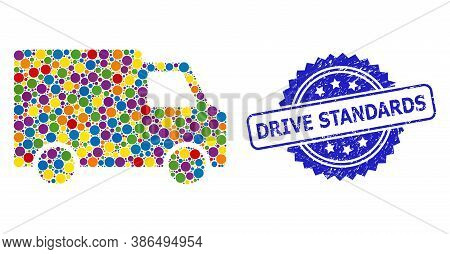 Bright Colored Mosaic Van Car, And Drive Standards Dirty Rosette Stamp Seal. Blue Stamp Seal Include