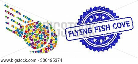 Colorful Collage Meteor, And Flying Fish Cove Scratched Rosette Stamp Seal. Blue Stamp Seal Has Flyi
