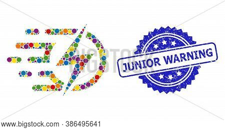 Bright Colored Collage Electric Voltage, And Junior Warning Unclean Rosette Seal Print. Blue Seal Ha