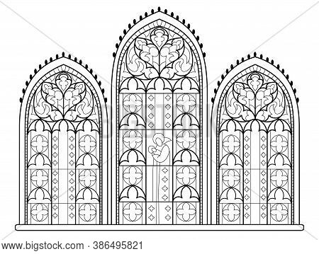 Black And White Drawing For Coloring Book. Beautiful Medieval Stained Glass Window In French Churche