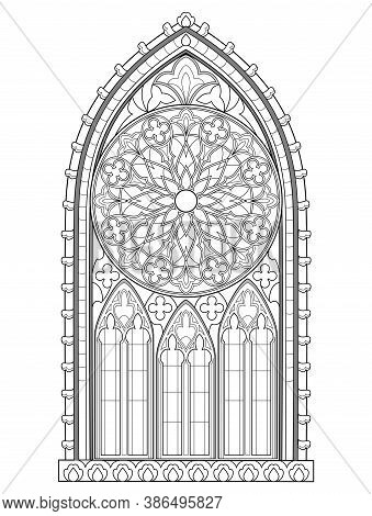Beautiful Gothic Stained Glass Window With Rose. Medieval Architecture In Western Europe. Black And